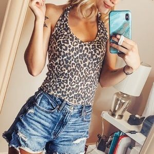 AMERICAN EAGLE Tan Leopard Ribbed Print Halter Top